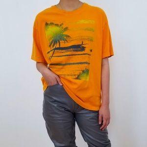 VTG REEBOK orange palm print t-shirt